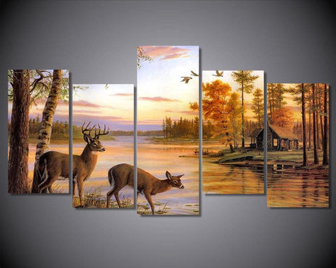Deer At The Lake 5-Piece Wall Art Canvas Deer Art - Hunt Lab Technologies