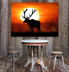 Elk Sunset Framed Canvas Wall Art