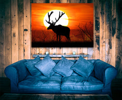 Elk Sunset Framed Canvas Wall Art - Hunt Lab Technologies