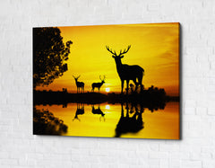 Lake At Sunset Deer Framed Canvas Wall Art