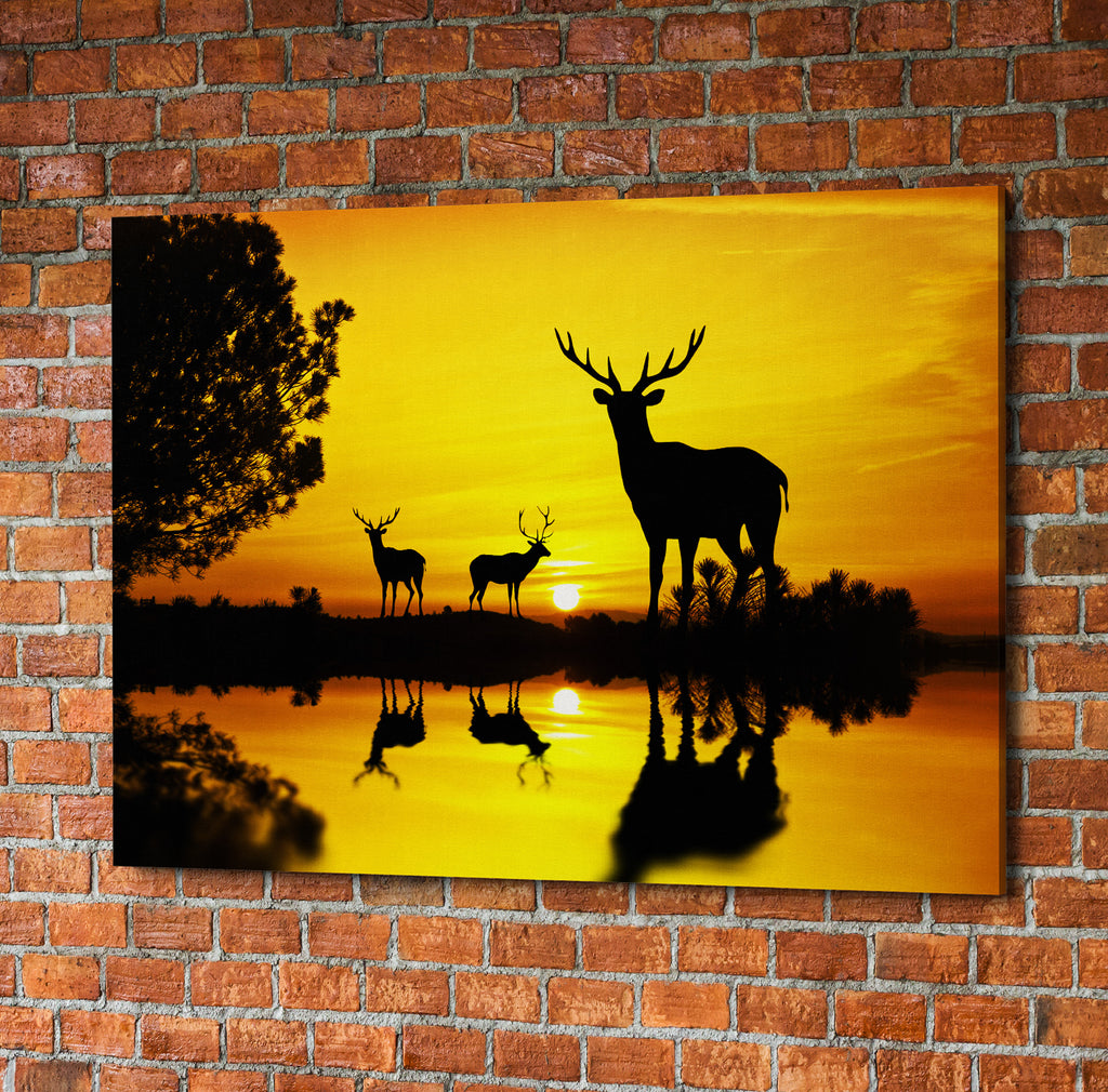 Lake At Sunset Deer Framed Canvas Wall Art – Hunt Lab Technologies