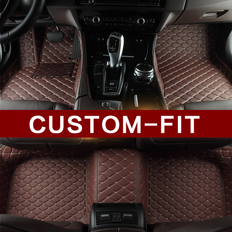 Dark Brown Diamond Edition Tagged Luxury Leather Car Floor Mats