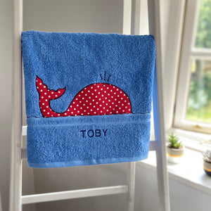 Blue Towels with Motifs