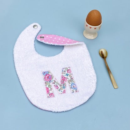 Baby Bib personalised with an appliqued initial