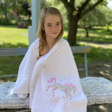 White Towels with Liberty Print Motifs
