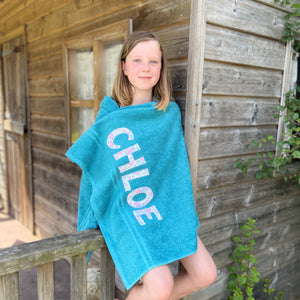 Green Lettered Towels