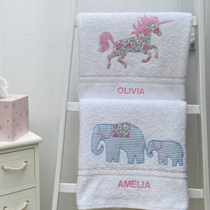 White Bath Towels with Motifs