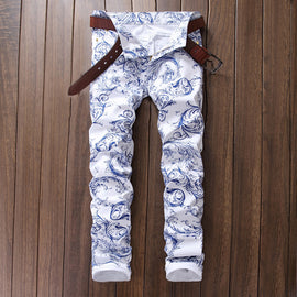 White Porcelain Printed Jeans