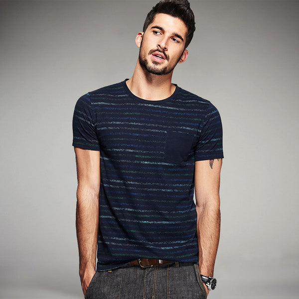 Fashion Men Striped Short Sleeve T-Shirt