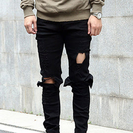 Casual Men Elastic Crazy Jeans