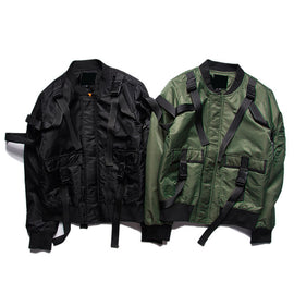Spliced Ribbon Casual Men Jackets