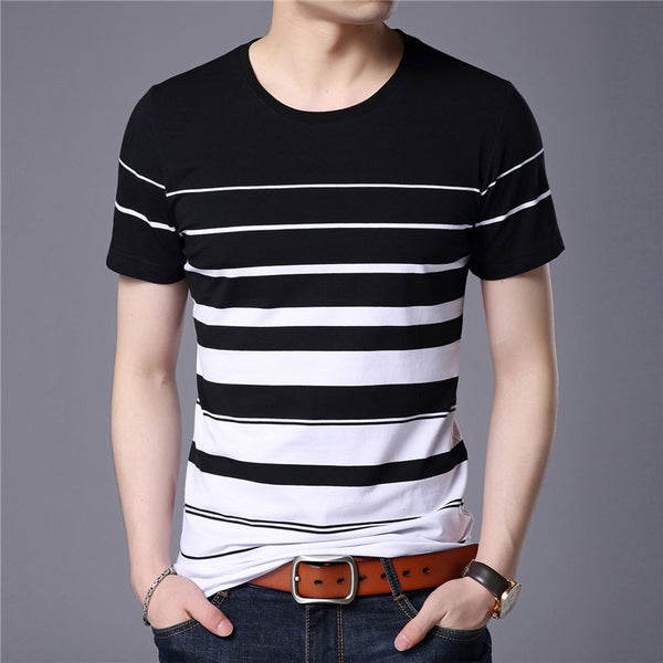 Striped Print Men Cotton Short Sleeve T-Shirt