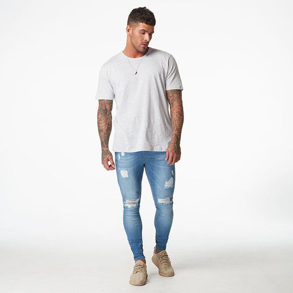 Blue Ripped Skinny Men Jeans