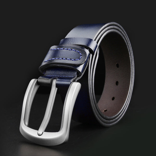 Blue Black Men Leather Belt