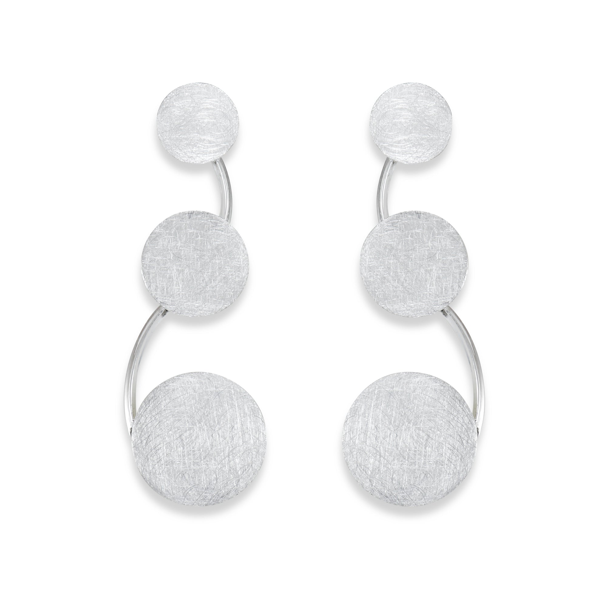 Brushed Sterling Silver Disc Earrings