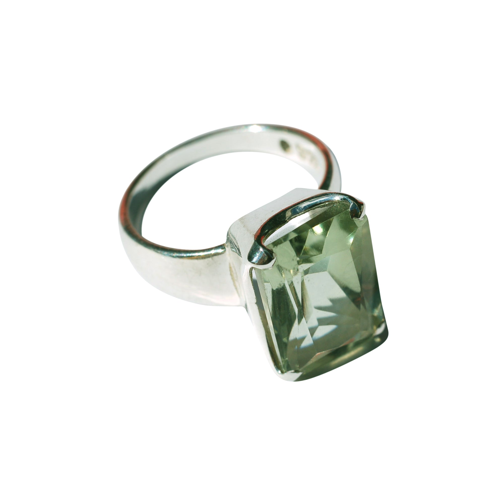 Prasiolite ring rectangular
