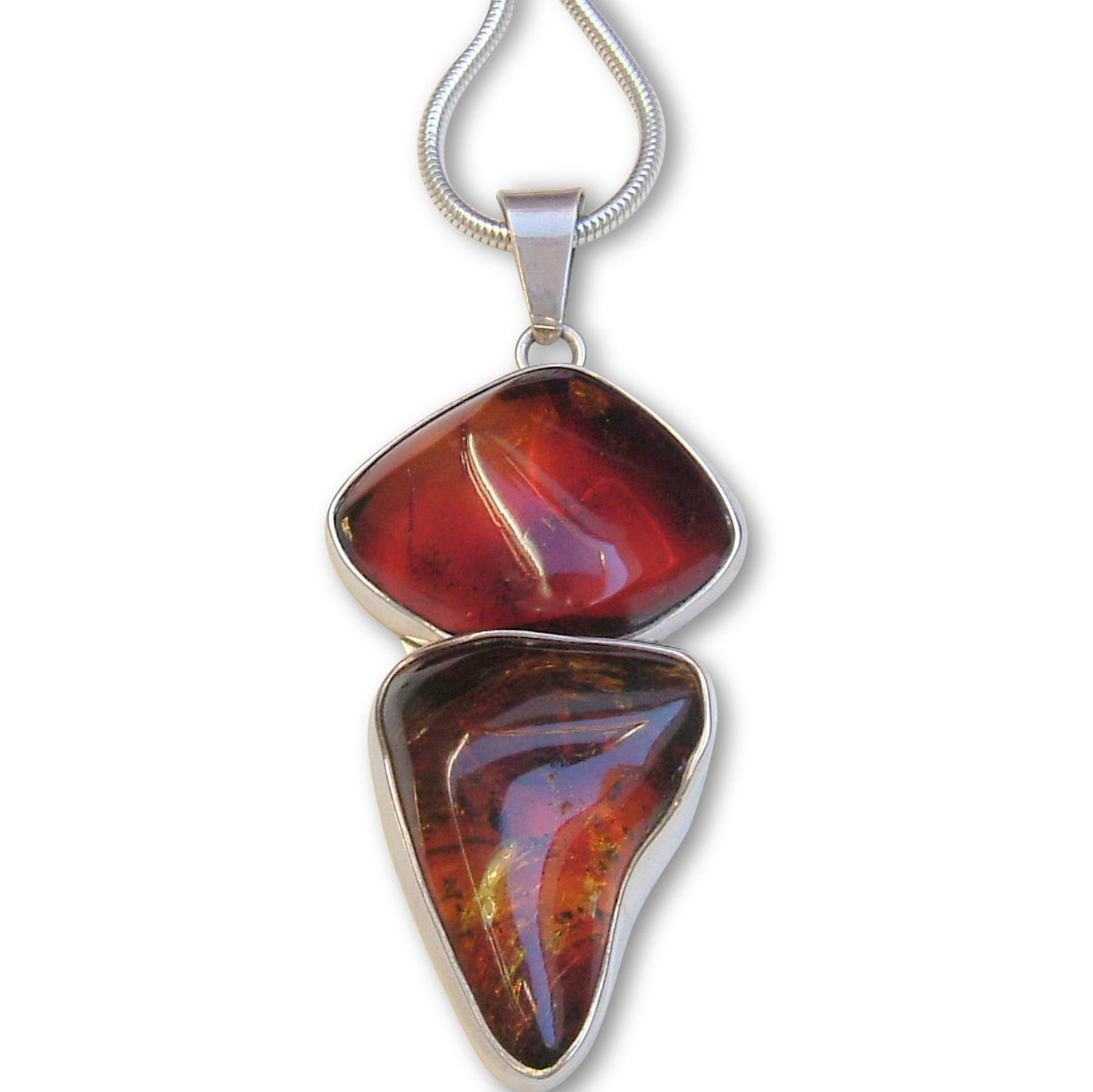 Mexican Amber Silver Pendant