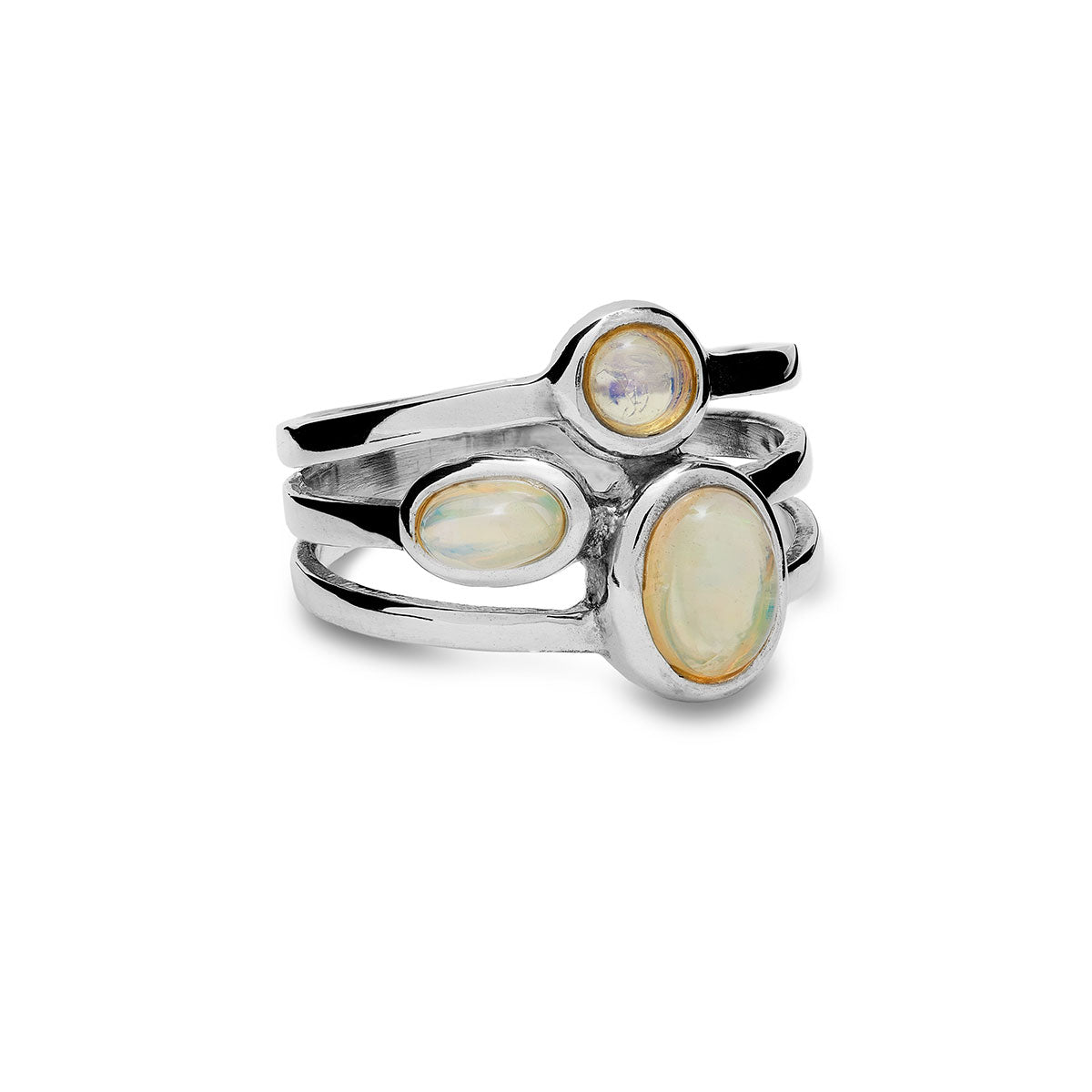 Ethiopian Opal Three Stone Ring