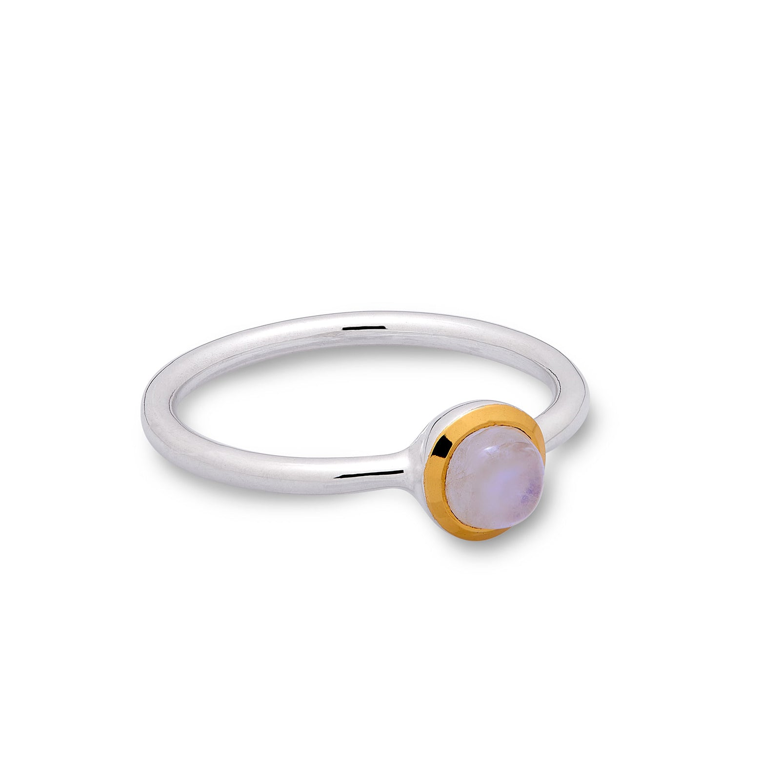 Rainbow Moonstone ring (thin band)