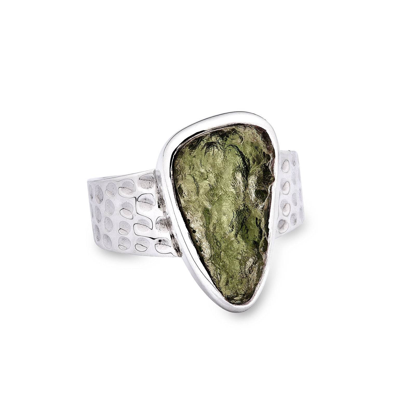 Moldavite Ring (tear shaped stone)