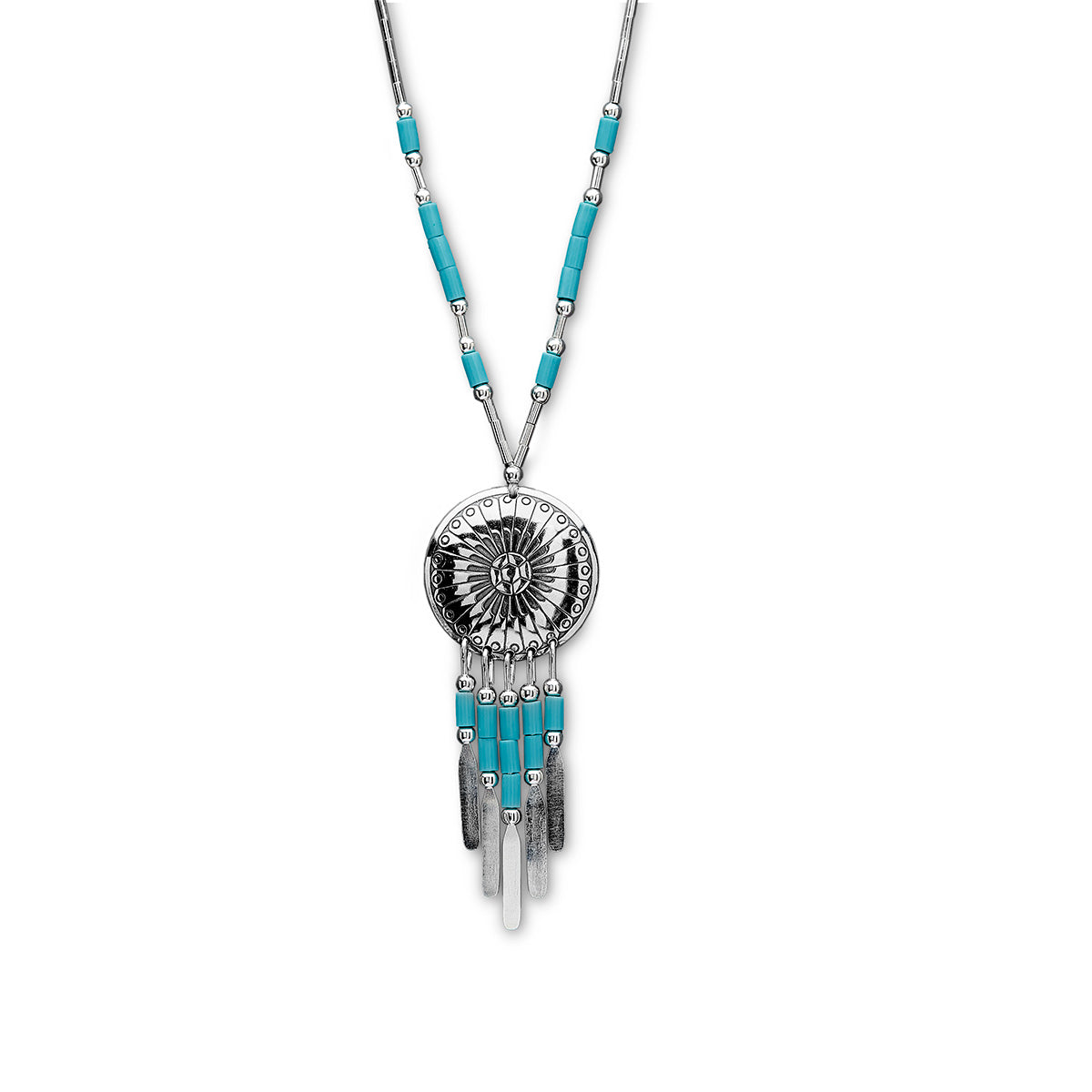 Native American 'Concho' style Turquoise and Silver Beaded Necklace