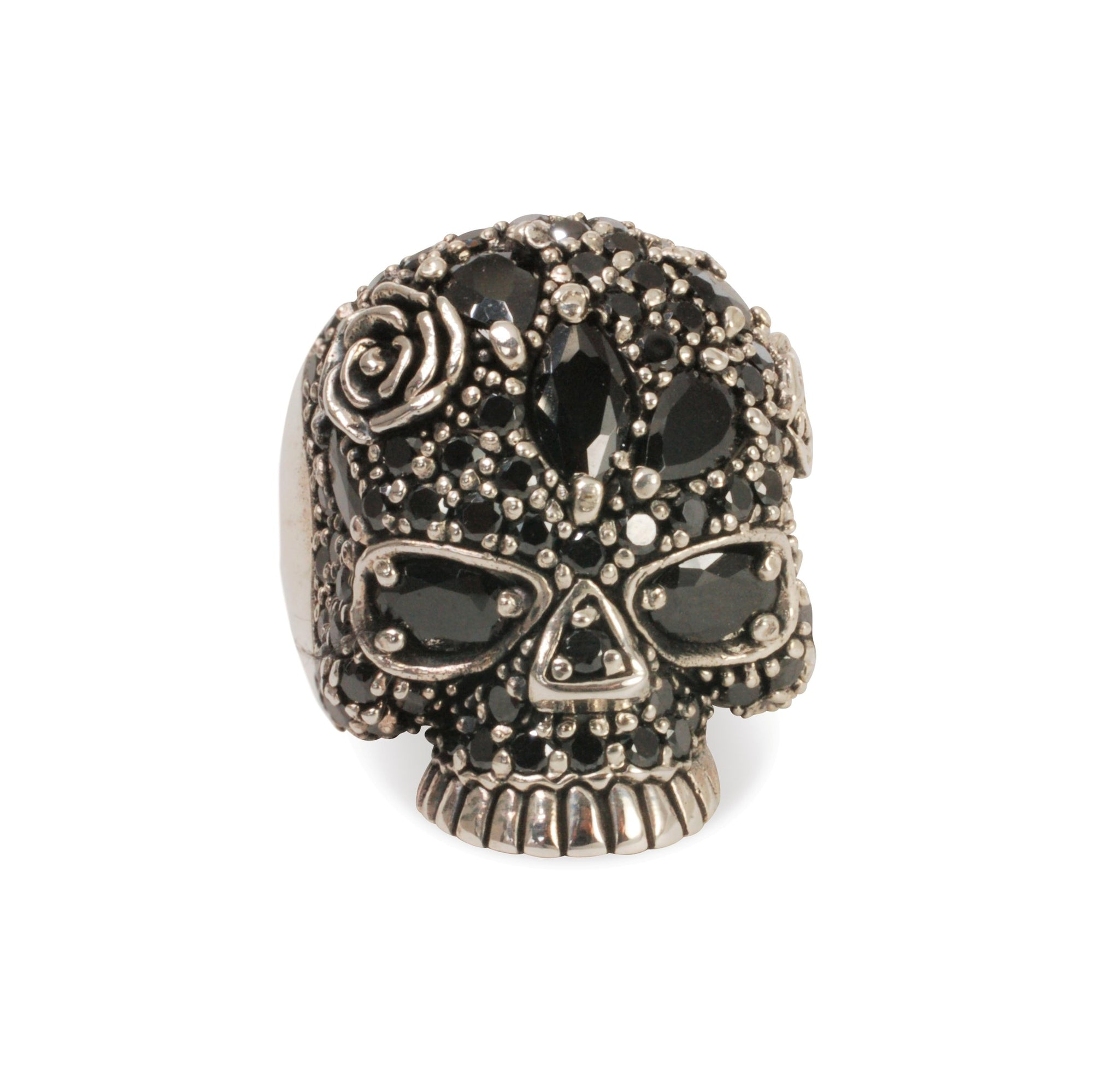 Skull ring with black cubic zirconia