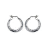 Small Engraved Silver Hoop Earrings