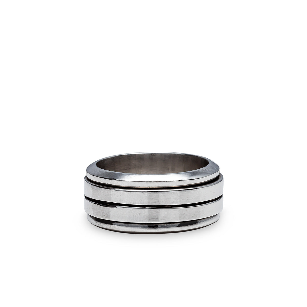 Flat Sterling Silver Spin Ring with line
