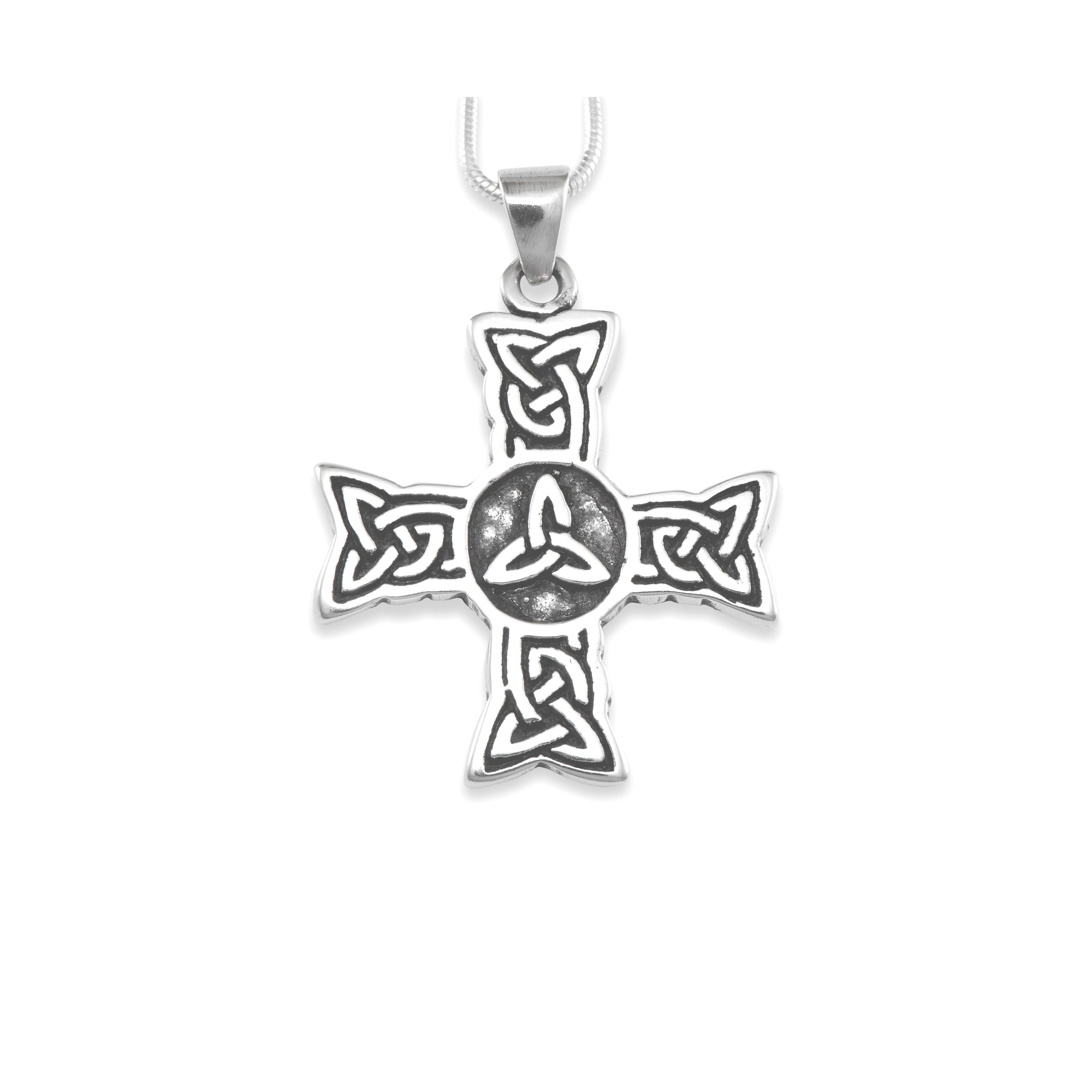 chain cross solid w celtic necklace pendant gold trinity rose knot