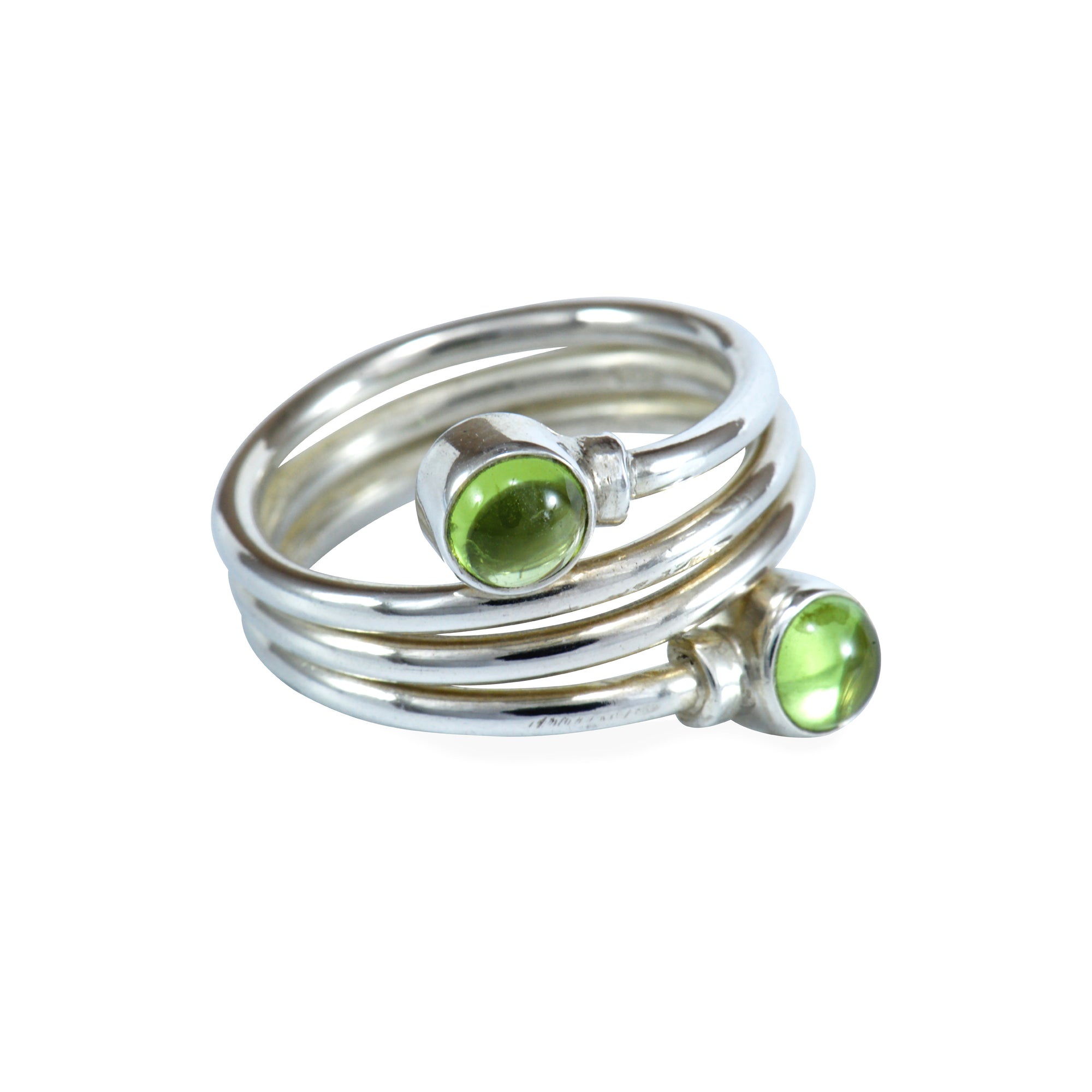 Peridot and Sterling Silver Spiral Ring