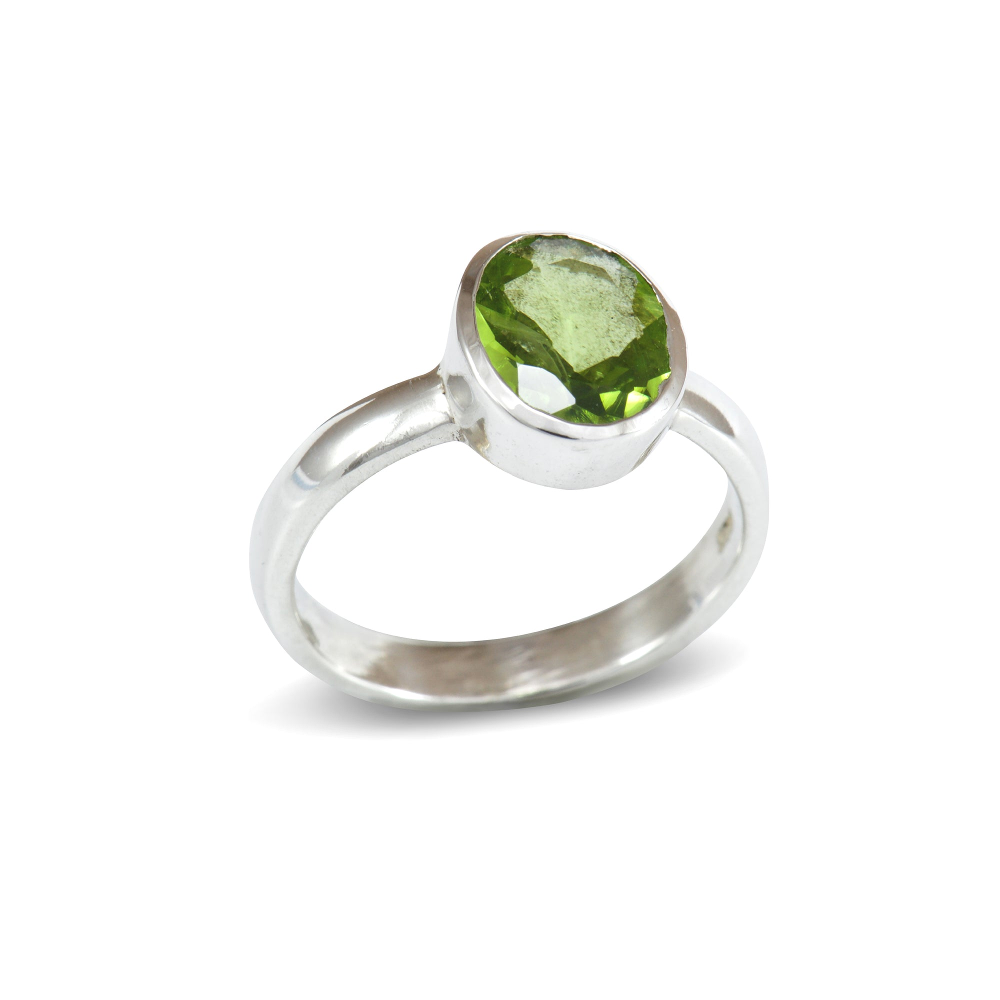 Faceted Peridot Silver Ring