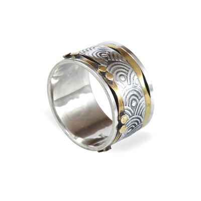 Silver & Copper Engraved Medium Ring