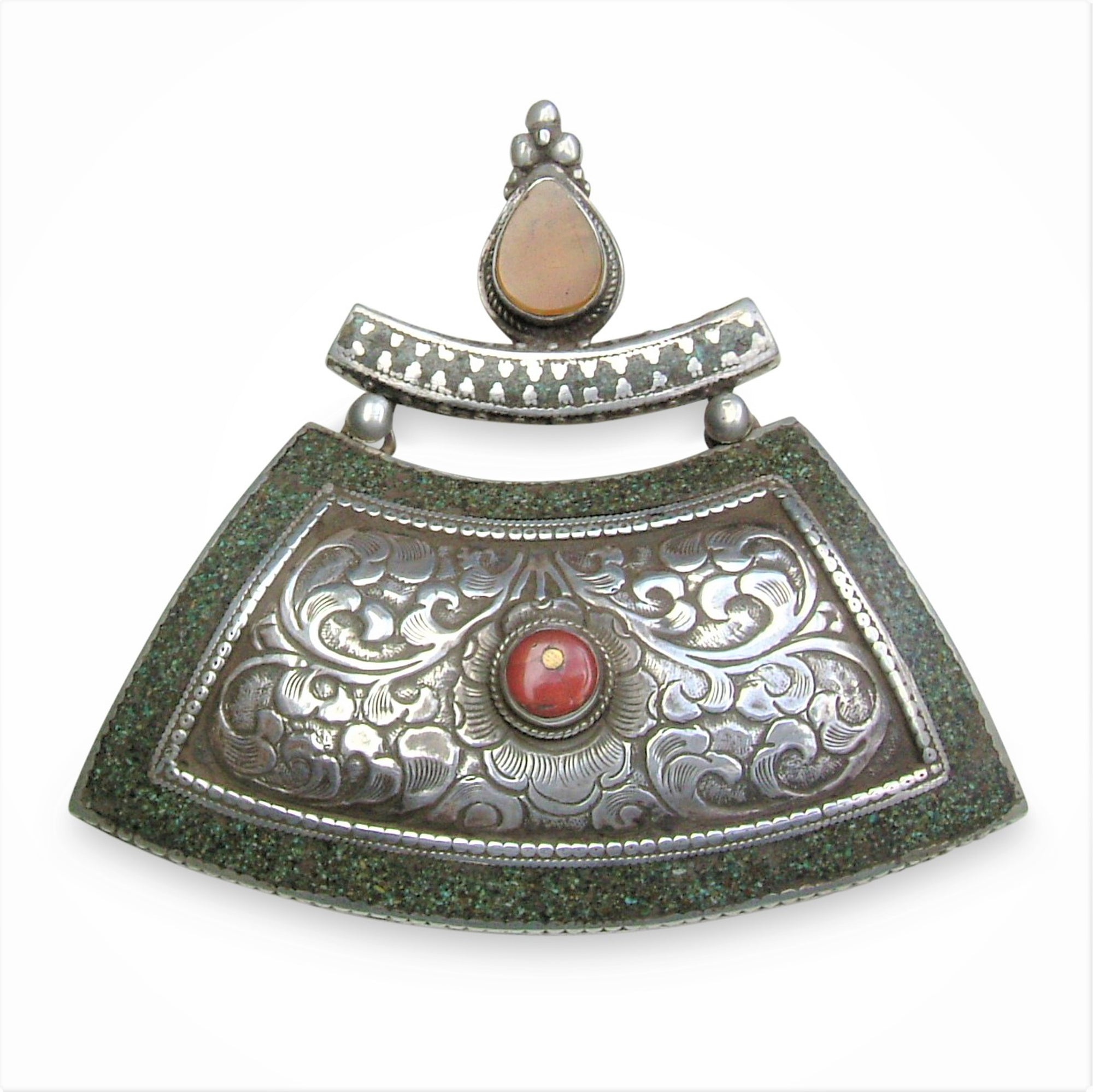 Tibetan Silver Pendant with Coral & Amber