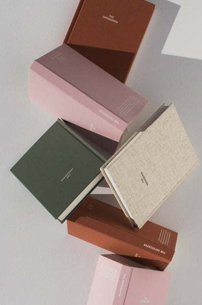 Image of diaries ins the colours: Oatmeal, Eucalyptus, Dusty Blush and Rust.