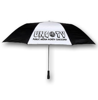 A UNC-TV Auto-Open Umbrella with Black & White Panels