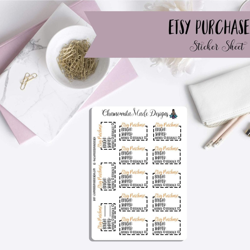 ace96c0166647 Etsy Purchase Tracker Planner Stickers | Etsy Sticker | Erin Condren |  Personal Planner Stickers | Mini Happy Planner | Happy Planner