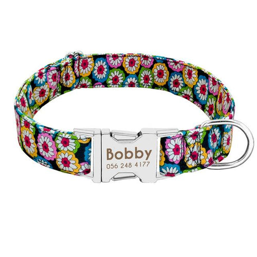 collier chien personnalise flower multicolore
