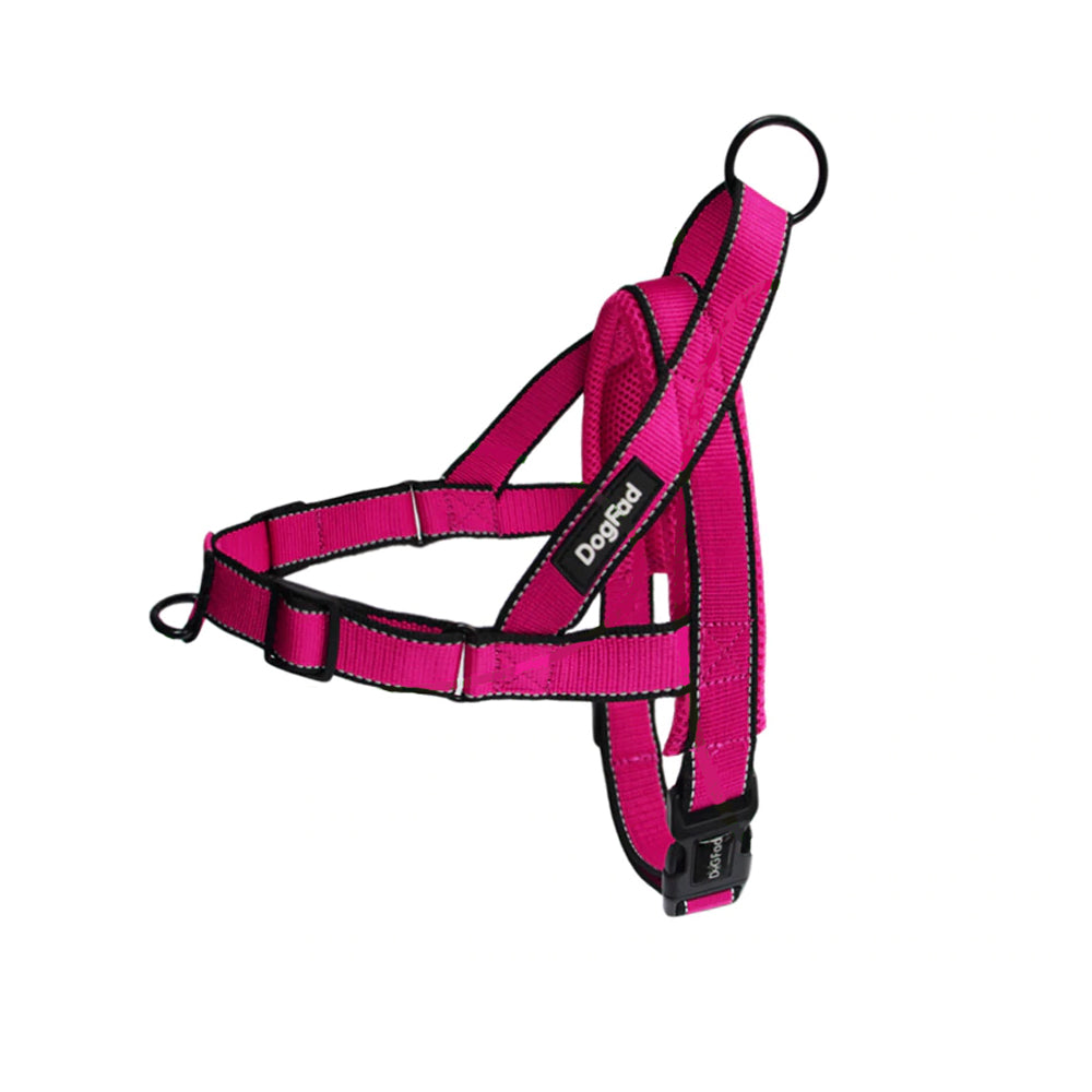 Harnais anti traction pour chien front control rose
