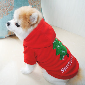 Sweat Capuche pour chien - Merry Christmas Noël - Rouge