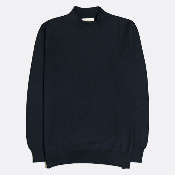 Sergey Roll Neck Navy Fine Merino Blend