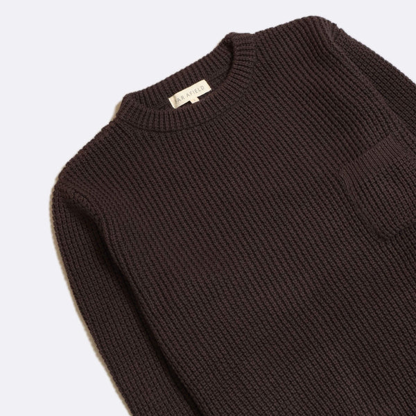 Joe Pocket Crewneck Espresso Grey Organis Cotton