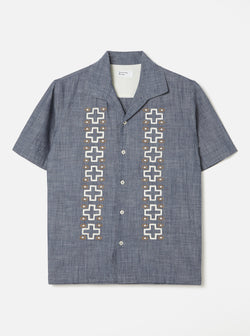 Open Collar Shirt In Indigo Chambray