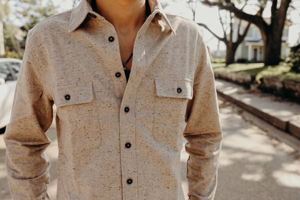 The Yosemite Shirt in Oat Donegal