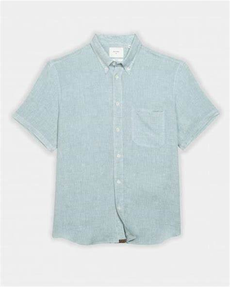 Tuscumbia Linen Blue Short Sleeve Button Up