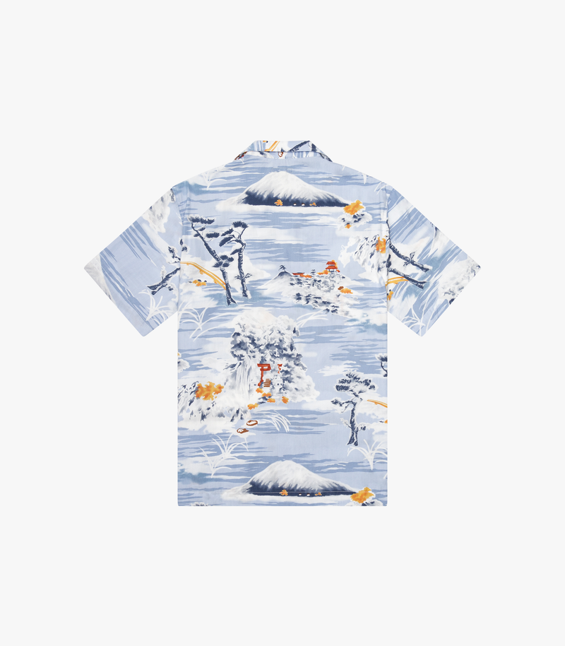 Tall Pocket Camp Shirt - Japanese Print in Sky