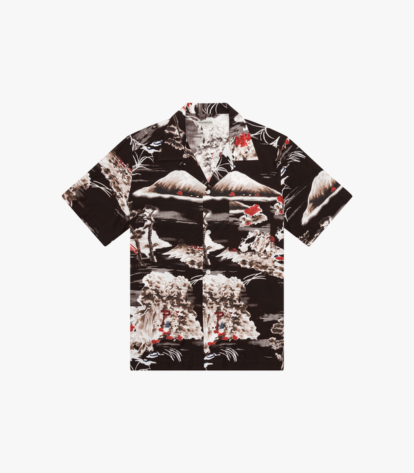 Tall Pocket Camp Shirt - Japanese Print in Chocolate Plum