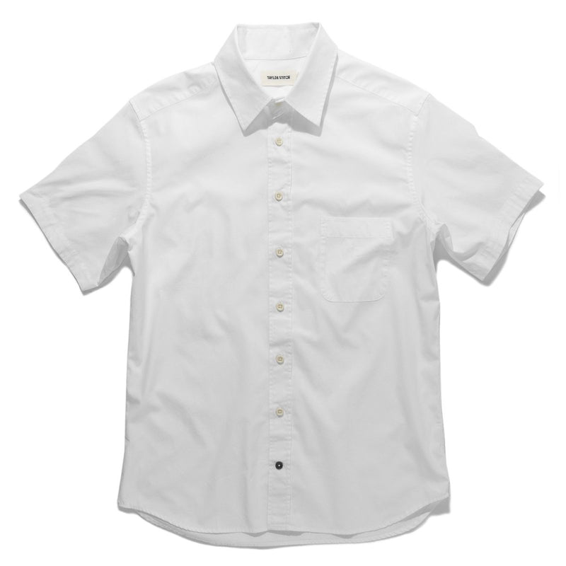 The Short Sleeve California in White Poplin