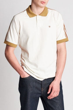 ESTE S/S POLO KNIT - CREAM/KHAKI