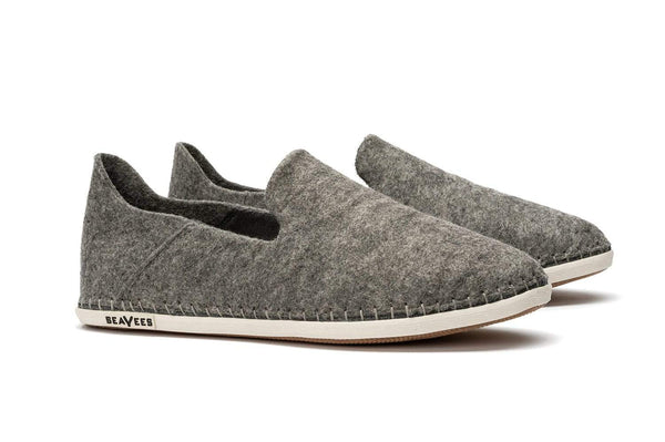 Stag Slipper Heather Grey Felted Wool