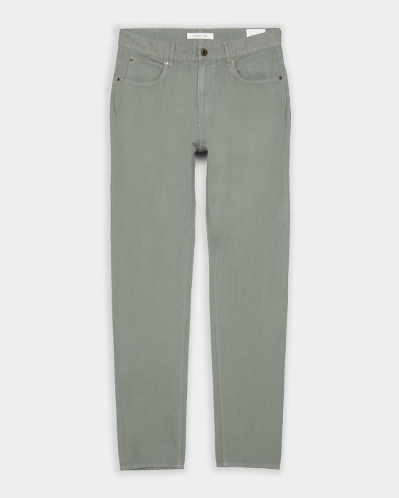 Cotton Linen 5 Pocket Pant Steel Green